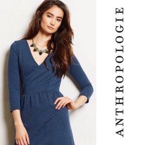Anthropologie HD in Paris Blue Wrap Dress Size XS